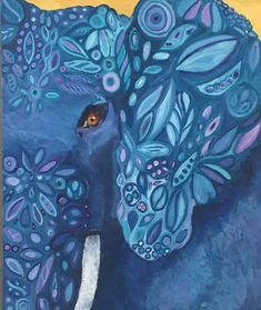 Enjoy this rich blue, decorated elephant head painting with art from Kathleen LeRoy in Boulder, Colordao Elephant Eye, Eye Close Up, Artist Painting, Palette, Symbols, Canvas, Artwork, Tela, Work Of Art