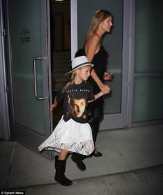 Beliebers: Heidi Klum treats her children by taking them to a Justin Bieber concert in Los Angeles on Wednesday night