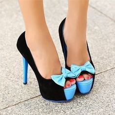 Black and light blue combo shoes