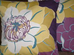 """2 18"""" Mustard Purple Blue Cream Print Design Funky Contemporary Designer Pillowcases,Cushion Covers,Pillow Covers,Throw Pillow,NEW FABRIC. $35.00, via Etsy."""