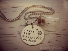 NEVER STOP MAKING WISHES Dandelion Glass Jar Necklace - Hand ...