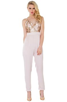 b44ded34bf8 AKIRA s Unforgettable Sequin Nude Jumpsuit features a plunging neckline  with boning