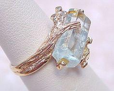 Vintage Aquamarine Natural Hexagonal Crystal Ring 14k Gold from arnoldjewelers on Ruby Lane