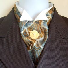 Silk Cravat Victorian Ascot Mustard Yellow and Duck Egg Blue Pattern. £20.00, via Etsy.