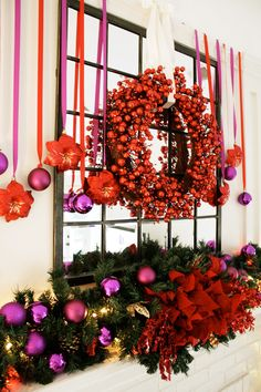pink + red holiday mantel