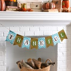 Celebrate the gratitude that lies at the heart of this fall season with our Thankful Patterned Banner. Draped across your mantel, it will complement the bright hues of autumn leaves with calming shades of blue and forest green.