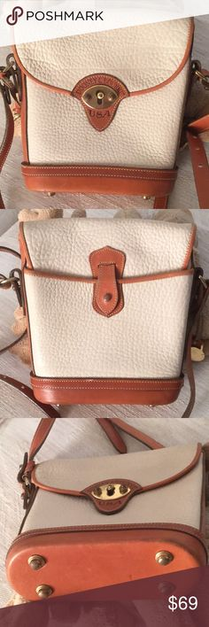 """Vintage Dooney & Bourne Crossbody Bag Vintage bad in very good condition with slight signs of wear on bottom and a few pen marks on very bottom, inside the bag. They might even clean up with some saddle soap. Measures 8"""" by 8"""" by 2.5 deep. Production dates were 1977-1989. Dooney & Bourke Bags Crossbody Bags"""