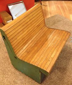 Vintage Train Station Bench $200 - Michigan City http://furnishly.com/catalog/product/view/id/3974/s/vintage-train-station-bench/
