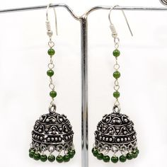 Attractive! Green Jade 925 Silver Plated Jhumki Earring Jewelry PG 3801 #SilvestoIndia #Earring