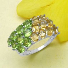 4.05CTW Citrine & Peridot .925 Sterling Silver Ring - http://www.johareez.com/shop/justbuyit/rings/4-05ctw-citrine-peridot-925-sterling-silver-ring-2-10842/$10617081