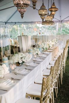 Gold Cream and Blue Reception Decor | photography by http://dearwesleyann.com