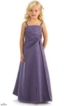 Matches bridesmaids style 1908. Matte satin beaded A-line bridesmaids gown with double spaghetti straps and shawl. The waist is gathered and appears to be held in place by a row of decorative buttons.