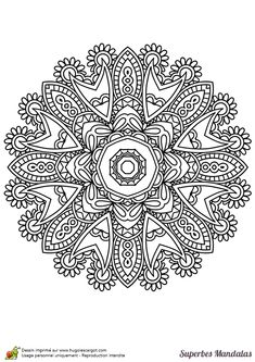 "Coloriage d'un superbe mandala indien facile à colorier - Hugolescargot.com | free sample | Join fb grown-up coloring group: ""I Like to Color! How 'Bout You?"" https://m.facebook.com/groups/1639475759652439/?ref=ts&fref=ts"