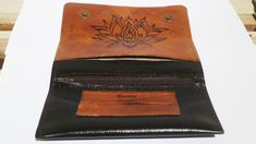 Lotus Flower Tobacco Pouch, Leather Tobacco Case, Vintage Genuine Leather smoker bag, Men and Women Tobacco Smokers, Handcrafted Pyrography Leather Dye, Leather Pouch, Pyrography Designs, Bag Men, Stainless Steel Earrings, Nose Stud, Christmas Gifts For Her, Smokers, Lotus Flower