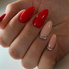 Subtle Nail Art, Red Nail Art, Red Acrylic Nails, Red Gel Nails, Pastel Nails, Nagel Bling, Red Nail Designs, Dream Nails, Stylish Nails