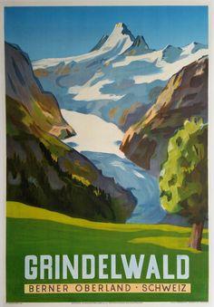 Grindelwald. 1942. Vintage Travel Poster by Jegerlehner Hans Gordon