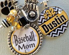 Baseball Mom Personalized Necklace- CHEVRON, softball mom, team colors, team number, charm necklace, birthday gift