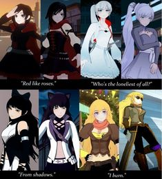 Their outfits definitely got cooler as time went along.<< I don't like Weiss's and Blake's new outfits Manga Anime, Rwby Anime, Rwby Fanart, Anime Art, Geeks, Fire Emblem, Rwby Bumblebee, Red Like Roses, Rwby Volume