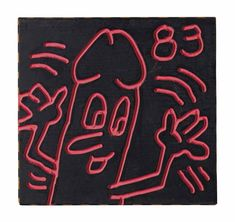 Keith Haring (American, Untitled (Daisy Dick), Acrylic on panel, 28 x cm. K Haring, Jm Basquiat, Keith Allen, Keith Haring Art, Kenny Scharf, Daisy, New York Art, Gay Art, Reference Images