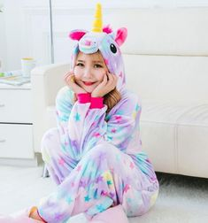 2d2a379f27 Pink Unicorn Pajamas Sets Flannel Pajamas Winter Nightie Stitch Pyjamas for Women  Adult Sleepwear Winter night-suit set pajamas