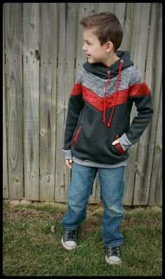 Elevation Hoodie is a chic and modern hoodie with amazing color blocking! Your boy or girl will love the ease and style. Amazing details like a lined or unlined wrap hood and an inset kangaroo pocket. No serger required! No special tools needed. Comes in sizes 6-12m 12-18m 18-24m 2t 3t 4t 5t 6 7 8 10 12 14 16. 14 16.  Pattern made for sweatshirt fleece, fleece, french terry, medium - thick knits with 35% stretch.