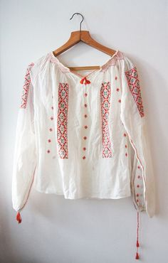 Vintage 60's traditional Romanian blouse Red black Hand Embroidery white…