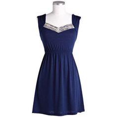 Simple Navy Blue Crochet Dress