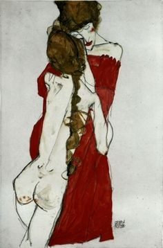 Egon Schiele?. Mother and daughter 1913
