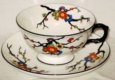 Atlas China Footed Cup Saucer Blackthorn Grimwades England