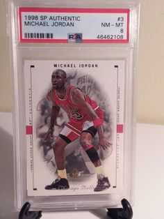 Michael Jordan 1998 SP Authentic PSA GRADED 8!! CHICAGO BULLS NBA THE G.O.A.T HOF Check out my listings for more deals Nba Sports, Chicago Bulls, Michael Jordan, Trading Cards, Baseball Cards, Check