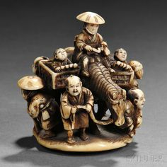 "Ivory Netsuke of a Man on a Horse, Japan, 19th century, surrounded by six men in various poses including a horse attendant, two children in baskets on the horse's back, signed ""Chounsai Gyokumin (長雲齋 玉眠)"" to circular base, ht. 2 1/8, dia. to 2 in."