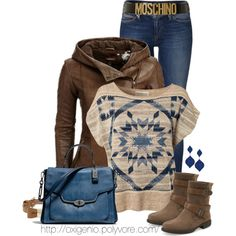 """Brown and blue"" by oxigenio on Polyvore"