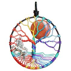 Rainbow Tree of Life Pendant, Tree of Life Necklace, Full Moon Wire Wrapped Jewelry