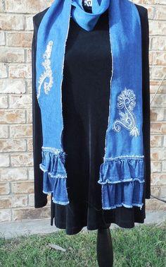 Scarf Denim Ruffled Appliqued Scarf Blue Jean by CrossMyHeartBags