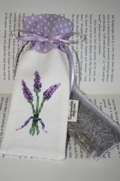 Handmade Cross stitch LAVENDER Sachet/Mini Bag/Great Gift