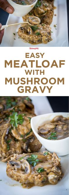 with Mushroom Gravy Easy Meatloaf with Mushroom Gravy - One word: Irresistible!Easy Meatloaf with Mushroom Gravy - One word: Irresistible! Turkey Recipes, Meat Recipes, Dinner Recipes, Cooking Recipes, Healthy Recipes, Dinner Ideas, Vegetarian Recepies, Microwave Recipes, Sausage Recipes