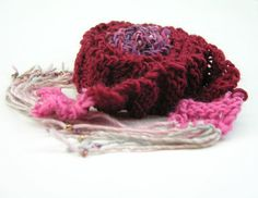 Handknit Skinny Scarf with Beaded Fringe Merino by TheSavvyStitch