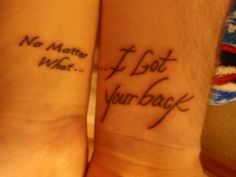"""Me n my hubby's matching tattoos...lyrics from """"No Matter What"""" by Papa Roach"""