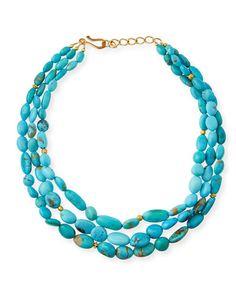 Y3VJ0 Dina Mackney Three-Strand Turquoise Necklace