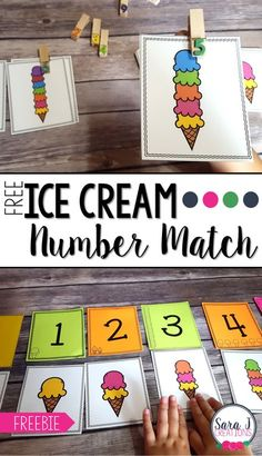 Cream Number Match Free ice cream themed number match is the perfect counting practice for numbers Ideal for preschool and kindergarten!Free ice cream themed number match is the perfect counting practice for numbers Ideal for preschool and kindergarten! Counting Activities, Preschool Learning Activities, Free Preschool, Preschool Printables, Preschool Kindergarten, Preschool Activities, Numbers Kindergarten, Preschool Summer Theme, Learning Numbers Preschool