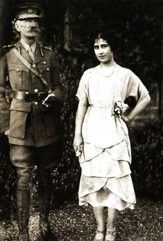 September 29, 1921: The Queen Mother when she was Elizabeth Bowes-Lyon with her father, the Earl of Strathmore.