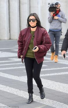Kourtney Kardashian wearing Saint Laurent Patti Lace-Up Boots and Kanye Life of Pablo Alpha Industries Ma-1 Flight Jacket in Maroon