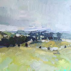 """Passing Showers, 2015. o/c, 26 x 26"""" Sold."""