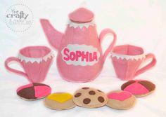 ♥ ITEM DESCRIPTION ♥    ♥ The Crafty Button is having a Tea Party and youre invited! The Crafty Button Tea Set is a luxury item every little girl needs