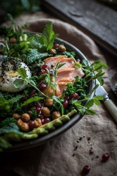 Kale salad with smoked trout and tahini yogurt. | Gluten free and paleo. | Click for healthy recipe. | Via He Needs Food