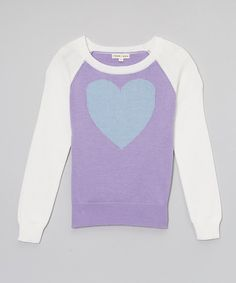 Another great find on #zulily! Lavender & White Heart Sweater - Toddler & Girls by Yoon #zulilyfinds