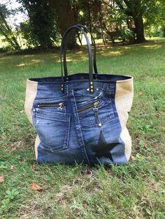 Sac Sardine et Cie Collection Jean/Jute Jute, Bordeaux, Stylish Outfits, Handbags, Collection, Macrame, Satchel Handbags, Purses, Denim Crafts