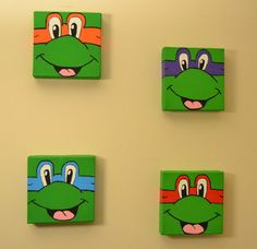TMNT Teenage Mutant Ninja Turtles Hand Painted Canvas Wall Decor 6x6 Canvas #Etsy #CMDenney Crafts