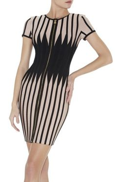 Herve Leger Madison Jagged Colorblocked Bandage Dress HDR395