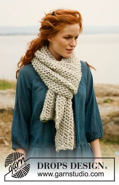 """Bohemian Rhapsody - Set consists of: Knitted DROPS scarf and hat with lace pattern in """"Eskimo"""" or """"Andes"""". - Free pattern by DROPS Design Knitting Stitches, Knitting Patterns Free, Free Knitting, Baby Knitting, Free Pattern, Drops Design, Crochet Wool, Diy Crochet, Knitted Shawls"""